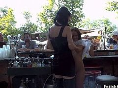 Petite slave humiliated in public bar