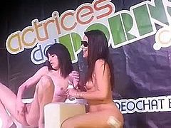 Carolina Abril & Carol Vega lesbian show with boy at SEV 2013