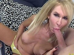 Mature blonde woman gets her tits sucked Then she gives a nice blowjob Then she gets her pussy fucked deep and good in various positions The guy spills cum over her tits