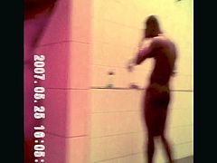 Awesome black guys caught in gym showers