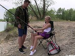 Young fisherman fucks pretty hot blondie Cayla A by the lake