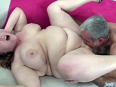 Sexy BBW gets her tits sucked good Then she gets her plump pussy fucked hard and deep in many positions She gives a nice blowjob and tit fuck too She gets her pussy licked He cums in her mouth