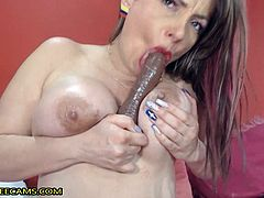 She bend over and fingering her pussy and twerking that huge ass, than she started tity fuck and spiting and licking dildo. After that she spread her legs and fingering her really wet pussy and fucked her with huge dildo. For the end she switched to cowgirl pose to riding big dildo and twerking.