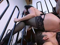 While Ramon's fat dick drills Veronica's tight asshole, Victoria Voxxx, being absolutely naked and bound with rope, sitting on the floor, was licking Veronica's wet pussy. Intense bdsm family role play threesome at its best! Have fun!