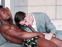 It was a complete surprise for Jack Hunter to find this muscular black guy on the couch at his house. Fortunately, he did not lose his head and decided to use his chance to the fullest. This big black dick tastes good, as Jack tries to take it in his mouth almost completely...