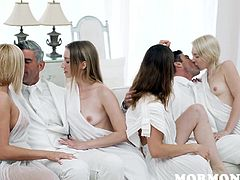 I can bet that you will not be disappointed by this really special video. This is exactly what you have been looking for. Four sexy mormon girls and two powerful guys, this will be one really dirty orgy. So, do not waste your time and join us!