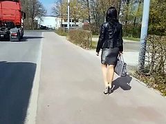 Nice Lady on the street in Tight Skirt and High-Heels (P-1)