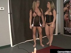Carmen Valentina & Milf Amber Lynn Bach Take Turns On Sybian