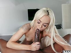 It looks like this blonde is not quite sure about her abilities. This huge black cock is too big for her tigh pink pussy, but she doesn't intend to give up so easily. You will love to see how she puts her holes to work! Join!