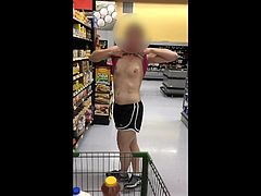 flashing her tits in the grocery store