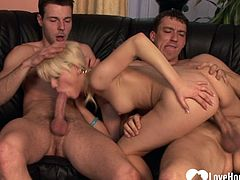 Incredible blonde takes on two hard shafts