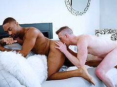 It all started with a sensual kiss and a handjob, before the black guy started to lick his white lover's ass. Then it's time for a passionate cock sucking... Relax and enjoy impetuous sex action!