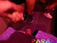 Paradise Gfs - Twins sucking cock in club - Part 1