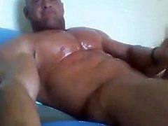 Muscle big pecs stroking 231018
