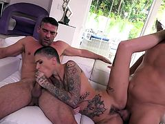 Leigh Raven looks really stunning with incredible tattoos all over her body, with short hair and a flawless figure. So, it is not surprising that two men with huge dicks offer her sex with various entertainments... Join and have fun!