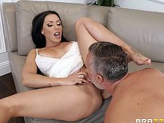 It is very difficult for Rachel to control her sexual desire and therefore, feeling horny, the busty milf immediately goes to her neighbor, who has a big hard dick and is always ready to fuck her tight pussy. It doesn't matter that he is married...