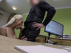 The blonde babe came with the strong intent to get this loan by all means. She starts with a blowjob, sucking his dick and swollen balls, and proceeded, offering him her tight pussy... Join and watch hottest sex right on office table!