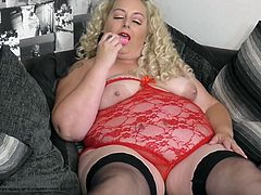 Well, this sexy fat bunny will instantly make your dick rock hard. With huge bubble butt, big saggy tits and in her sexy red lace lingerie Ohana is every guy's dream. Join and lick her juicy cunt!