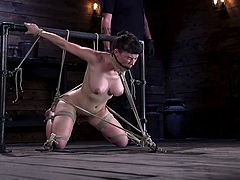 I'm sure that Olive Glass already regretted that her tits are so big and attractive. With wooden clothespins attached to her sensetive nipples, the brunette babe cries from pain mixed with pleasure, as the cruel torturer works her hairy pussy with electric vibrator...