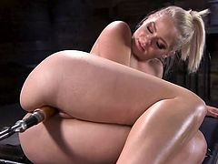 She moans so loud that it is very difficult to concentrate your attention and not notice her incredibly sexy body, beautiful face and such an inviting wet pussy. But she knows how to satisfy herself with the help of fucking machines, so we can only watch and enjoy!