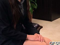 Lewd secretary has pleasure with her boss in the office