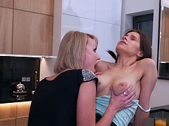 Elen Million, gorgeous brunette babe with a perfect body, big tits and hairy cunt enjoys being dominated in a fantastic lesbian action. Her elder partner knows what to do, to make her pussy swollen and wet. Hot lesbians fuck on the kitchen table. Join and have fun!