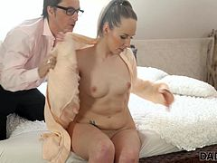 Old man relaxes in bedroom with young slut Jennifer Simmons