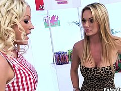 Paige Ashley 3way fucking with Cindy Behr at a store