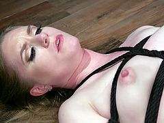 Cherry Torn likes to dominate in bed and she knows a lot about punishment and pleasure. Her bound lover is eager to obey, she gets on all fours and the busty lesbian milf enters Dresden's wet pussy with a huge strapon...