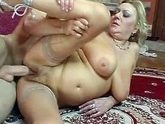 Huge Saggy Tits Granny Fucked Young Guy Stockings
