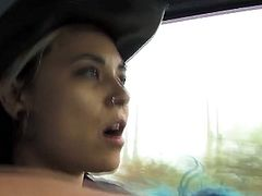 Sassy hitch hiker turned to be very hot and insatiable lesbian