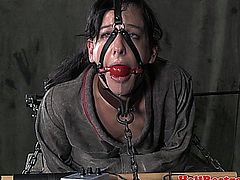 Electronic punished sub spanked hard