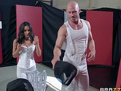 He thinks his wife is learning to fence, but the busty brunette milf is practicing sex with her fencing instructor, sucking his huge dick and licking his swollen balls... Relax and enjoy impetuous sex action!