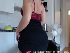 Strip Tease - French Amateur Blond Girl in the kitchen