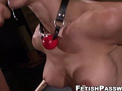 Chained Fiona Rivers stretched with maledom cock