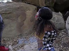 helpless ebony babe gets caught and fucked in a deserted place