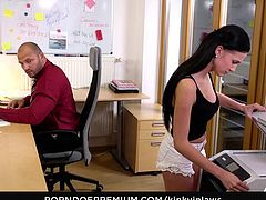 KINKY INLAWS - Stepdaughter Nicole Love and secretary Bella Scaris in taboo FFM threeway