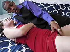 Christina Sapphire met this guy at work and decided to seduce him. It was her first experience with black guys and when she pulled his big chocolate penis out of his pants, she was really surprised by its huge size. Her wet pussy was waiting for such a monster all her life...