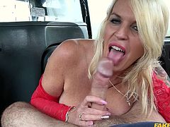 This sexy blonde has a pair of the biggest knockers you have ever seen. She doesn't have any cash to pay for her cab fare, but that is no problem at all, because she can use her big boobs to get a free ride. Her massive jugs slide over the taxi driver's cock and brings him very close to cumming.