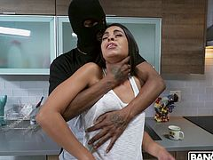 If you like to watch small babes sucking huge black dicks, then join! The hottest interracial porn can be found here, full of the prettiest girls and the biggest dicks around. Vienna Black sucks the masked robber's big black cock and asks for more...