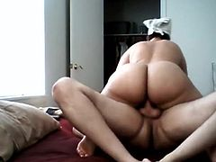 Sexy BBW riding and he cumming inside her