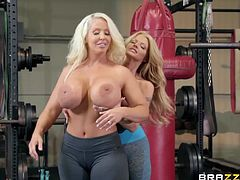 Maybe gym is not the best place to fuck each other, but these two lesbian milfs can't control their urge. Forget the dicks, these busty chicks don't need 'em. These lesbos can't get enough pussy and love girl on girl action. Relax and have fun!
