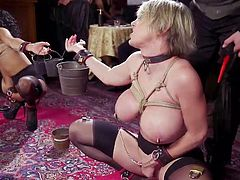 One busty milf and one ebony beauty, should we say more to make sure you will join our company? Two sex slaves were tortured and face fucked at The Armory. Join and enjoy interracial sex session with elements of kinky rope bondage
