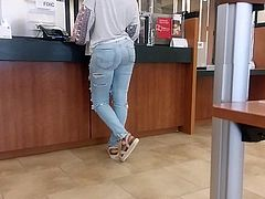 Candid big booty ebony in ripped jeans.