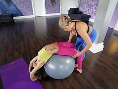 This is something new! Under the pretext of doing fitness and stretching, this cunning lesbian milf lures inexperienced girls into the gym and seduces them. Believe me, no one has managed to escape from the clutches of this predator... Hot lesbian sex session!