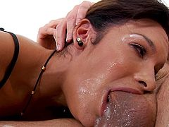 Perhaps other women should learn from Eden how to properly satisfy men. Look how deeply she takes this thick cock in her mouth, trying to put every inch of the dick deep into her throat. She swallows right down to the balls...