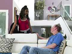 Thick ebony babe Chanell Heart with huge ass and small tits fucks her white stepdad like its fathers day while her mom is out working and they both wanted it.