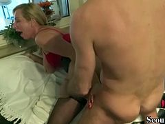 German Mom Caught Bro Jerking and Helps him with Fuck