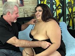 Sexy BBW and her mature friend kiss with each other He licks her pussy and ass She sucks his dick Then she gets her pussy and ass fucked deep in various positions He cums in her mouth