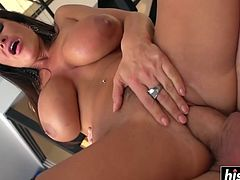 Lisa Ann wears stockings and gets a mouthful of cum after being pounded.